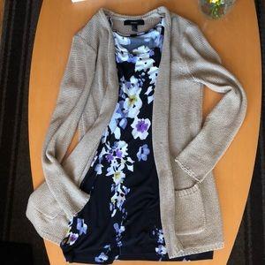 Sweaters - (2) M bundle tan knit sweater and flower dress